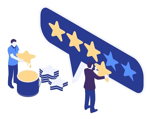 Mann im geschäftsanzug mit goldenem stern in der hand, bewertung