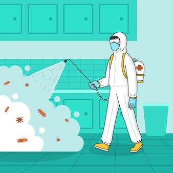 Mann im hazmat-anzug, der die küche von bakterien reinigt