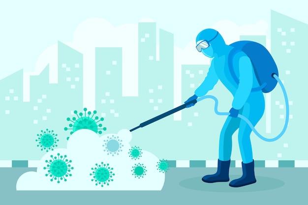 Mann im hazmat-anzug, der die stadt von bakterien reinigt