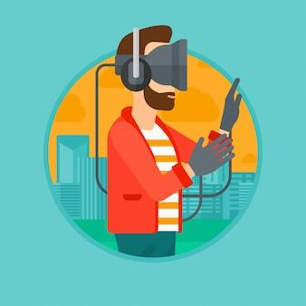 Mann im kopfhörer der virtuellen realität, der videospiel spielt.