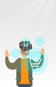 Mann im kopfhörer der virtuellen realität online kaufend
