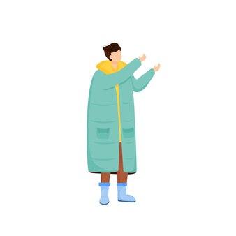 Mann im langen blauen mantel flache farbe gesichtslosen charakter mann gekleidet für kalten spaziergang im freien person in lässigen saisonalen kleidern herbstwetter-outfit isolierte cartoon-illustration
