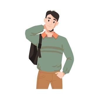 Mann im pullover mit rucksack isoliert männlicher student