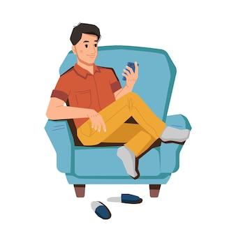 Mann im sessel mit smartphone im chat beim surfen