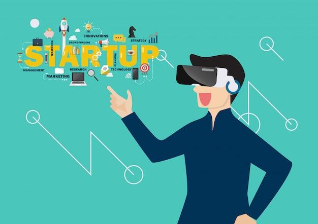 Mann im startkonzept der virtuellen realität