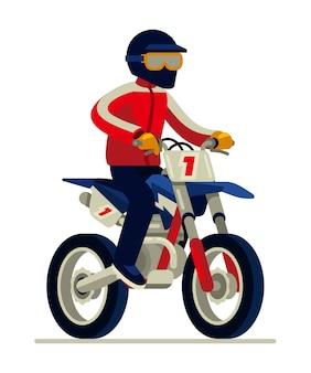 Mann im sturzhelm, der motocross reitet