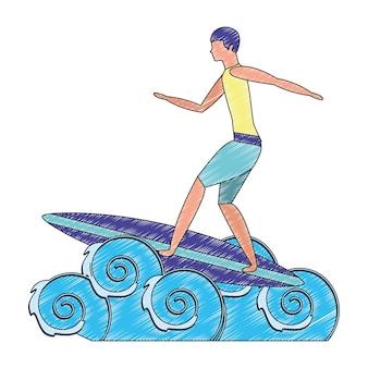 Mann im surfbrett mit wellenseevatarazeichen