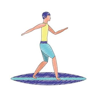Mann im surfbrettavatara-charaktervektor-illustrationsdesign