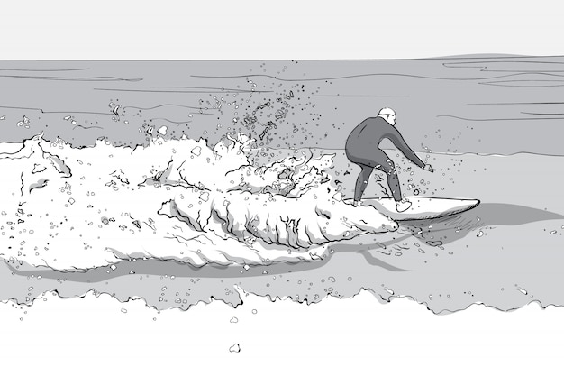 Mann im tauchanzug, der auf einem surfbrett surft. große wellen. strichzeichnungen