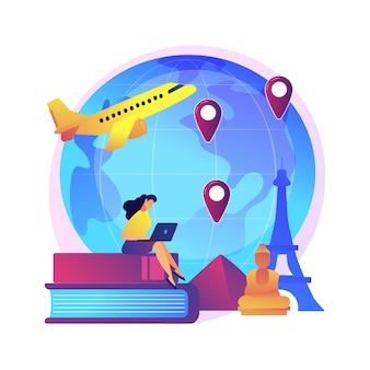 Mann im urlaub abenteuer. internationaler tourismus, weltweite sightseeing-tour, studentenaustauschprogramm. tourist mit rucksack, der ins ausland reist.