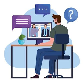 Mann im videoanruf mit computer