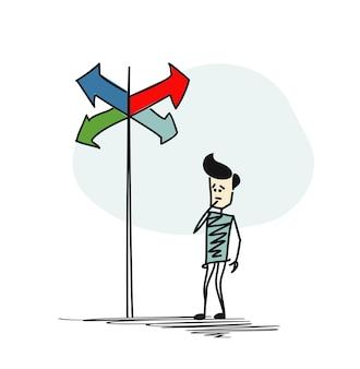 Mann im zweifel, der zwischen den richtigen entscheidungen wählen muss, die durch das richtungskonzept der pfeile angezeigt werden. cartoon handgezeichnete skizze vektor-illustration.