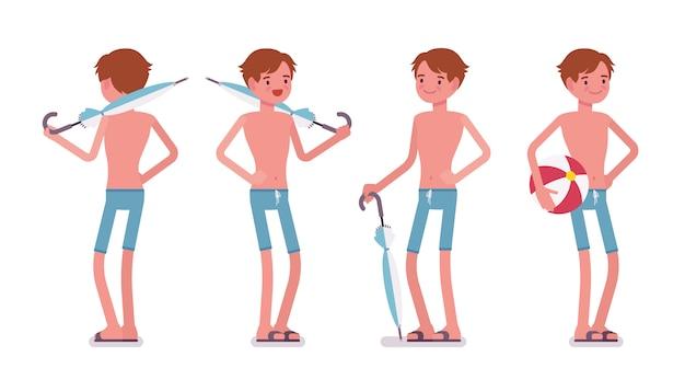 Mann in den blauen schwimmenstammkurzen hosen, stehende haltung