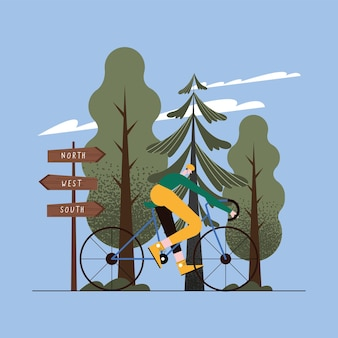 Mann in der fahrradszene