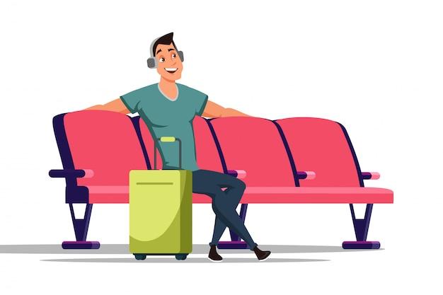 Mann in der flachen illustration des wartezimmers