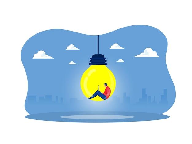 Mann in der glühbirne idee denkendes konzept, großes symbol der guten idee zu finden