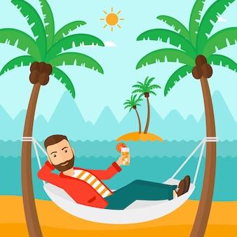 Mann in der hängematte entspannen