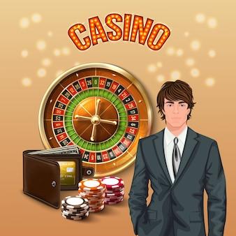 Mann in der realistischen zusammensetzung des kasinos mit der großen orange leuchtenden überschrift des kasinos und dem glücklichen spieler