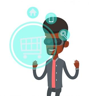Mann in der virtual-reality-brille, die online einkauft.