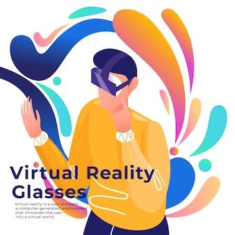 Mann in der virtuellen brille isometrischen stil.