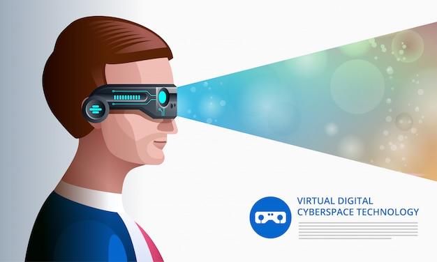 Mann in der virtuellen realität