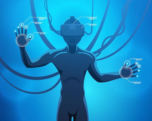Mann in einem helm der virtuellen realität