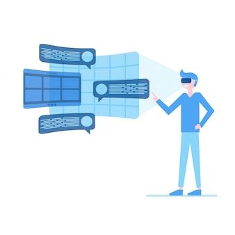 Mann in einer brille mit virtueller realität