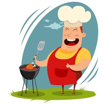 Mann in einer kochmütze, die ein ganzes huhn auf dem grill kocht. karikaturillustration eines glücklichen fetten mannes mit einem kulinarischen spatel bereitet eine grillmahlzeit auf dem grill vor.