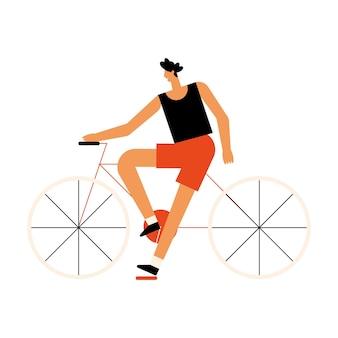 Mann in fahrrad-outdoor-aktivität