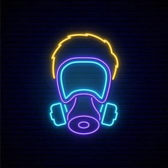 Mann in gasmaske leuchtreklame