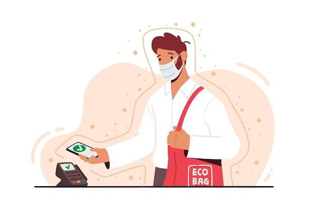 Mann in gesichtsmaske verwenden sie smartphone für drahtloses bezahlen an der kasse