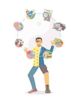 Mann in getrennter kleidung, die lebensaufgaben jongliert