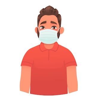 Mann in medizinischer schutzmaske schutz vor viren und bakterien