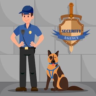 Mann in polizeiuniform mit braunem deutschem schäferhund