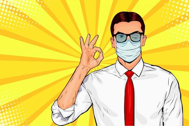 Mann in schützender gesichtsmaske. schutz gegen viren von coronavirus, bakterien, smog, covid-19. retro-comicartillustration der pop-art.