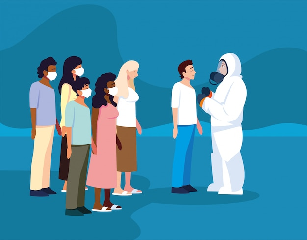 Mann in schutzanzug sicherheitskleidung mit wärmebildkamera überprüft eine gruppe von personen