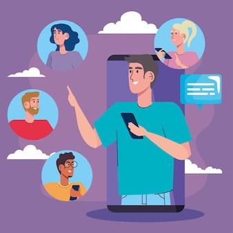 Mann in smartphone und community social media illustration