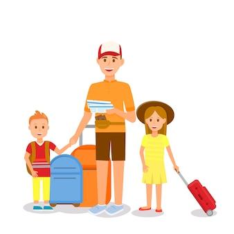 Mann in sommerkleidung mit kindern und koffern
