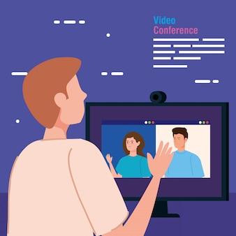 Mann in videokonferenz vom computer