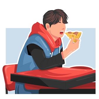 Mann isst pizza flachbild vector illustration