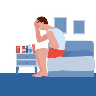 Mann ist krank und erkältet der patient hat kopf- und bauchschmerzen übelkeit und erbrechen coronavirus