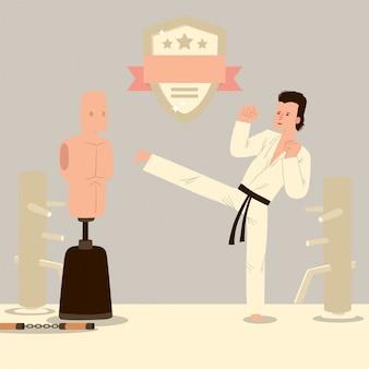 Mann karate kämpfer, kampfsport-trainingsraum, zeichentrickfigur in traditioneller uniform