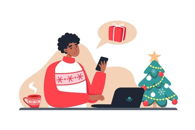 Mann kauft geschenke im online-shop, neujahr und weihnachten online-shopping von zu hause aus