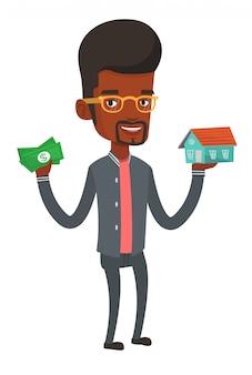 Mann kauft haus dank darlehen.