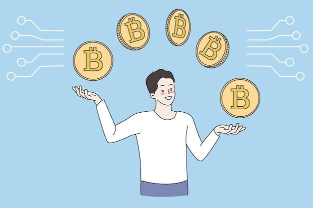 Mann kauft und verkauft kryptowährung auf dem markt