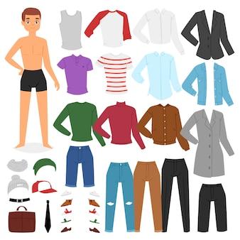Mann kleidung junge charakter verkleiden kleidung mit mode hosen oder schuhe illustration jungenhaften satz von männlichem stoff zum schneiden von kappe oder t-short auf weißem hintergrund