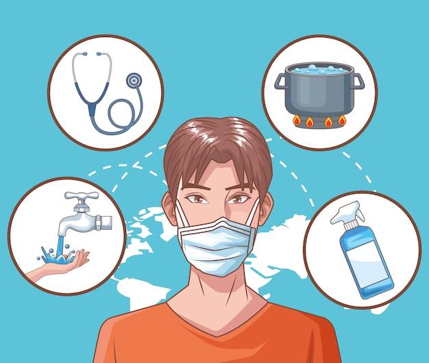 Mann krank in coronavirus-szene