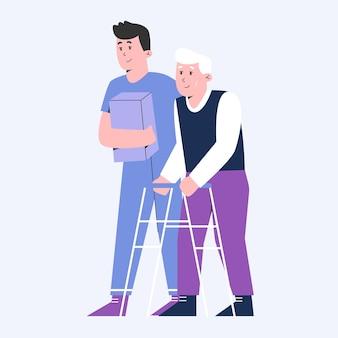 Mann krankenschwester kümmern sich um senior
