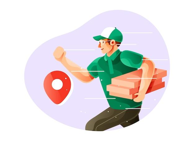 Mann kurier läuft und hält pizzaschachtel