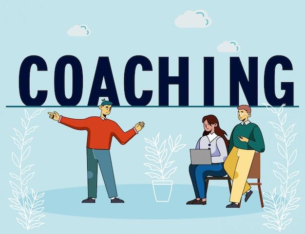 Mann lädt mitarbeiter zum corporate coaching ein